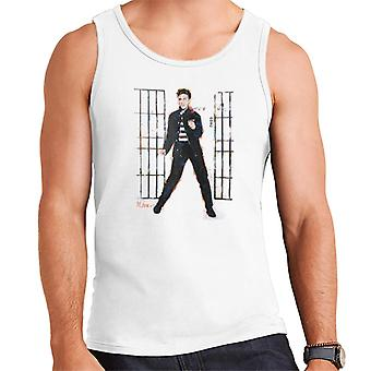 Sidney Maurer Original Portrait Of Elvis Presley Dark Jailhouse Rock Men's Vest