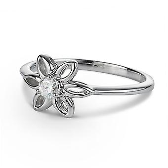 För evigt Classic runt 3.25mm Moissanite Flower Ring