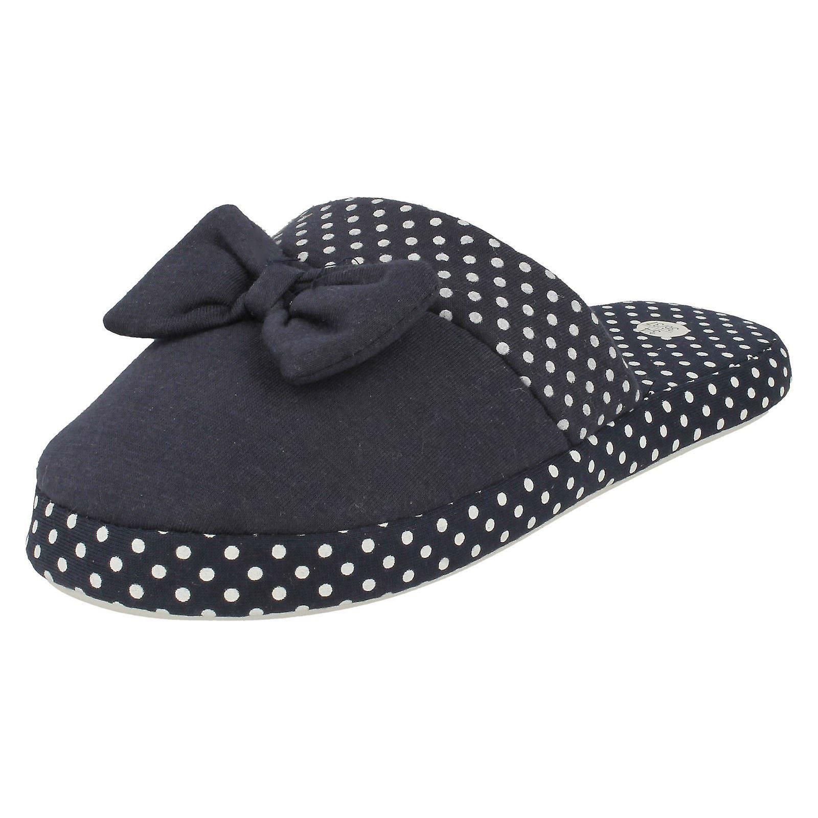 Ladies Sleep Lounge Slip On Slipper Shoes X2099 - Blue Spotty Textile - UK Size 5-6 - EU Size 38-39 - US Size 7-8