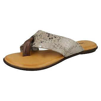 Ladies Leather Collection Toepost Sandals F00128 - Brown Leather - UK Size 8 - EU Size 41 - US Size 10
