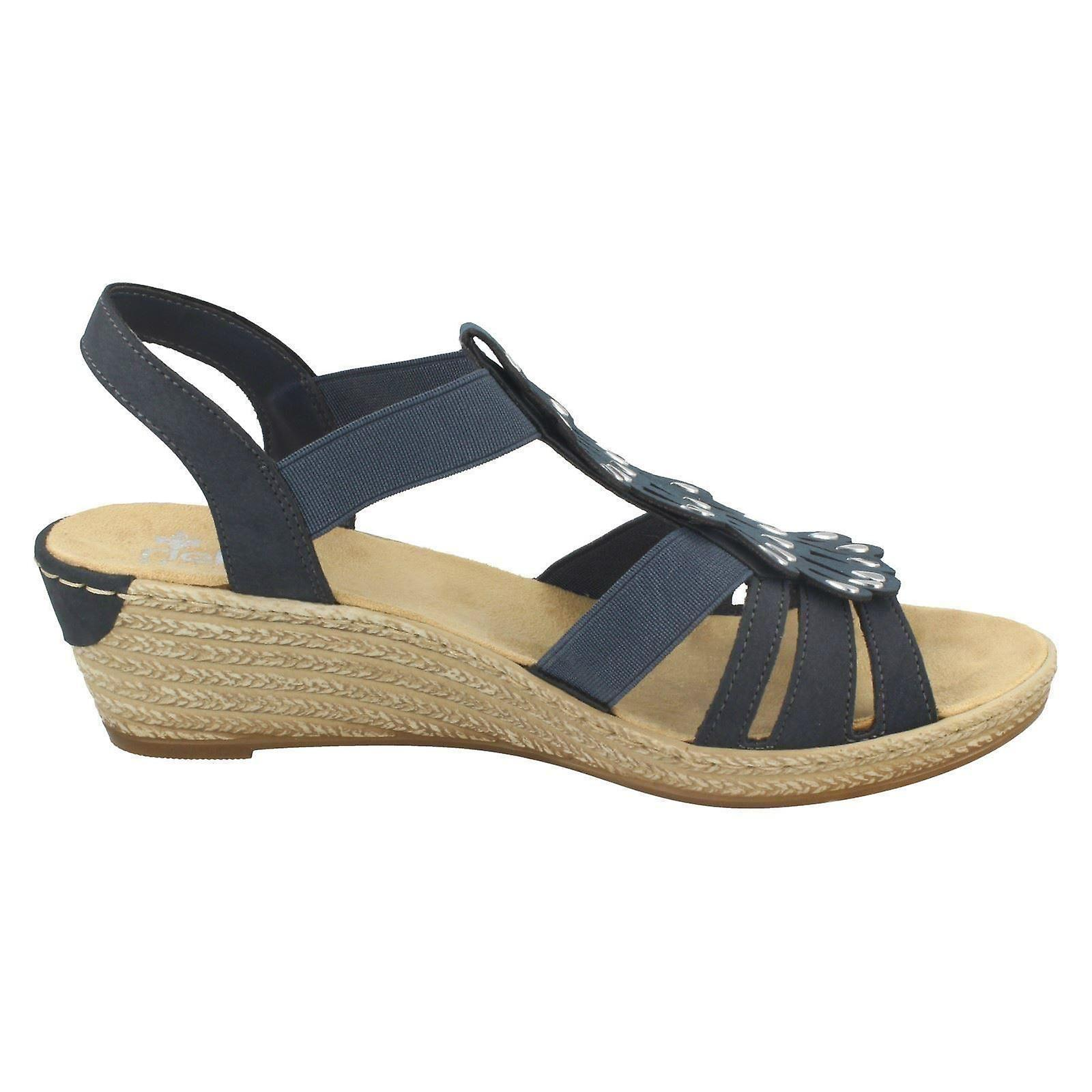 Damen Rieker Wedge Heel Sandalen 62436 14 blaue Kunststoff UK Größe 8 EU Größe 42 US 10