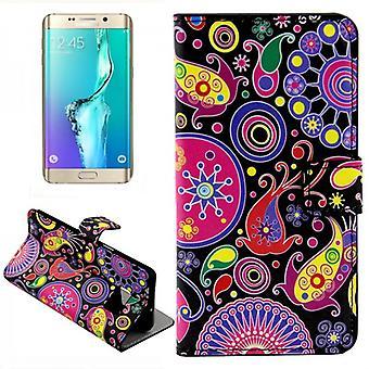 Tegnebog Deluxe taske mønster 8 for Samsung Galaxy S6 kant plus G928 F