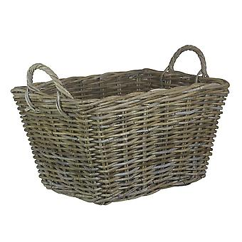 Small Rectangular Grey Rattan Floor Storage Basket