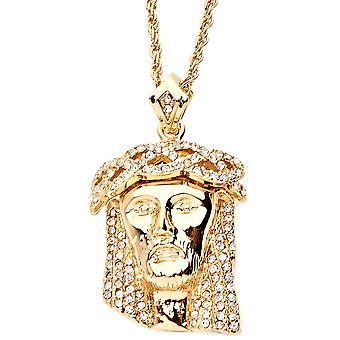 Iced Out Bling Religion 3D Anhänger - JESUS gold