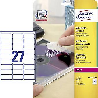 Avery-Zweckform L6114-20 Labels 63.5 x 29.6 mm Polyester film White 480 pc(s) Permanent Safety stickers, All-purpose labels Laser, Copier