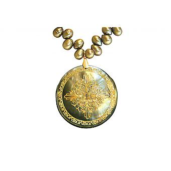 Gemshine Halskette Anhänger Medaillon Perlen Perlmutt Bronze Grau 5 cm