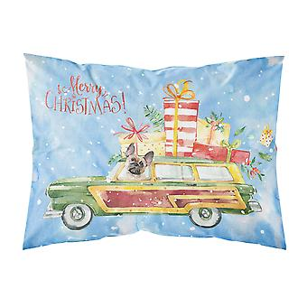 Merry Christmas Fawn French Bulldog Fabric Standard Pillowcase