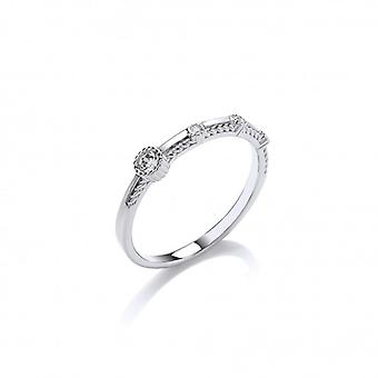 Cavendish French Fine Silver and CZ Studded Ring