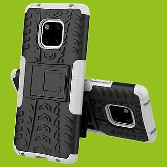 Für Huawei Mate 20 Pro Hybrid Case 2teilig Outdoor Weiß Tasche Hülle Cover Schutz