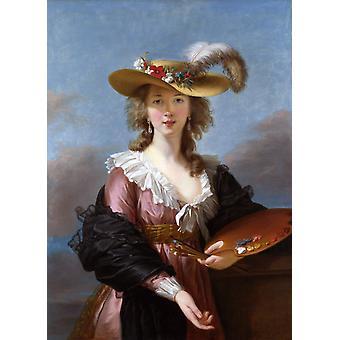 Selbstportrait in einem Strohhalm, Elisabeth-Louise Vigee-Lebrun, 50x40cm