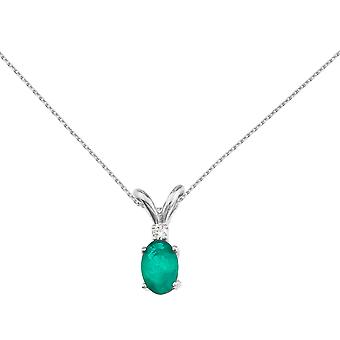 14k White Gold Emerald and Diamond Oval Pendant with 18