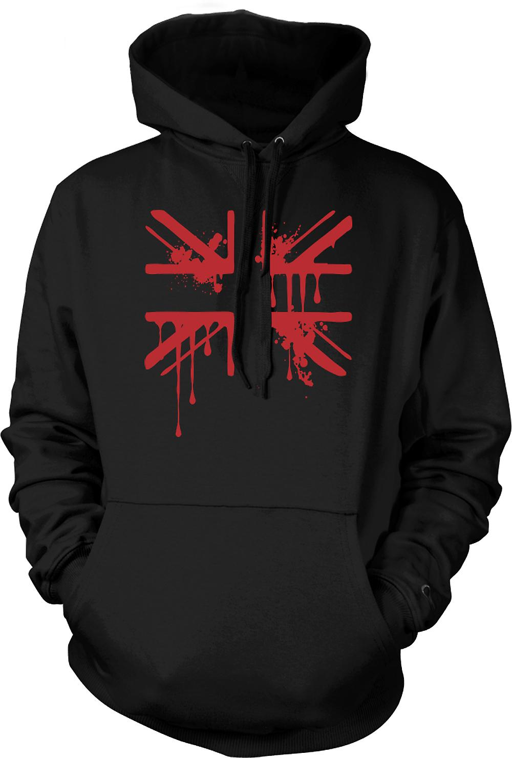Mens Hoodie - Grunge Blood Union Jack