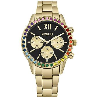 Missguided | Ladies | Gold Strap | Black Dial | Rainbow Stone Bezel MG015GM Watch