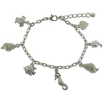 TOC Girls Silvertone Sea Life Charm Bracelet 7