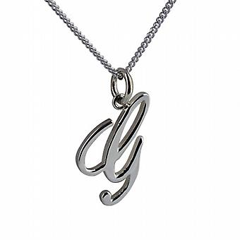 Silver 22x13mm initial G with a curb Chain 18 inches