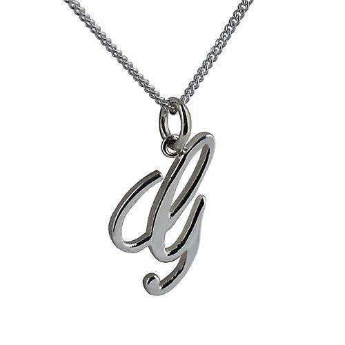 Silver 22x13mm initial G with a curb Chain 24 inches