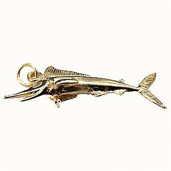 9ct Yellow Gold Solid Charm Sword Fish