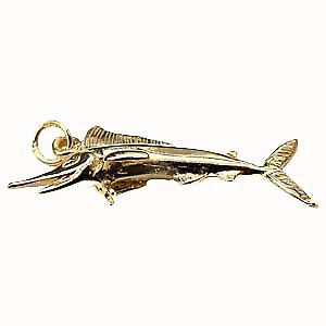9ct Gold 14x40mm solid Sword Fish Pendant or Charm