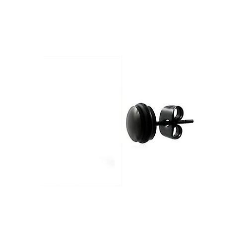 Male Pair Of Black Stainless Steel 6mm Stud Earrings For Men