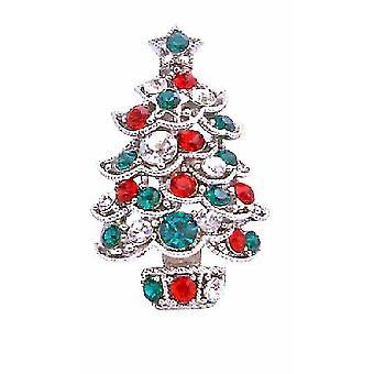 Weihnachtsbaum Funkeln grün rot kubischer Zirkon Brosche Pin