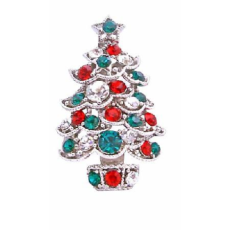 Christmas Tree Sparkling Green Red Cubic Zircon Brooch Pin
