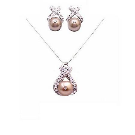 Bronze Pearl Pendant Stud Earrings Rhinestones Handmade Bride Jewelry