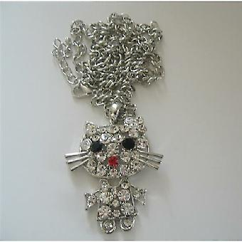 Cat Sparkles Pendant White CZ Style 26 inches Chain