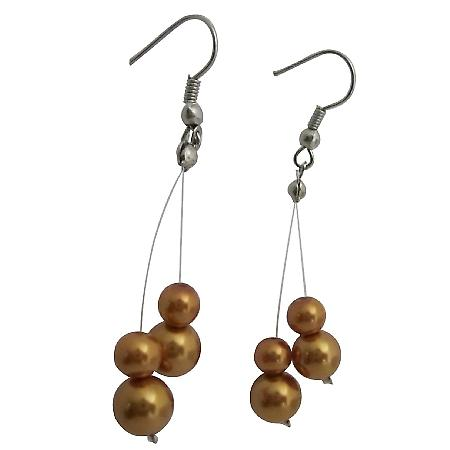 Inexpensive Gold Pearls Dangling Earrings Gorgeous Bridesmaid Jewelry
