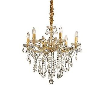 Ideal Lux - Florian Gold Finish Six Light Chandelier With Clear Glass And Crystals IDL035635