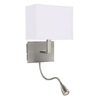 Wall Light Dual Arm Satin Silver - LED Flexi Arm - Searchlight 6519SS