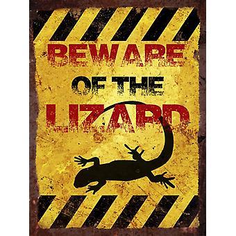 Vintage Metal Wall Sign - Beware of the lizard