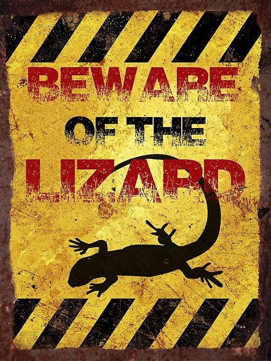 Vintage Metal Wall Sign - Beware of the lizard