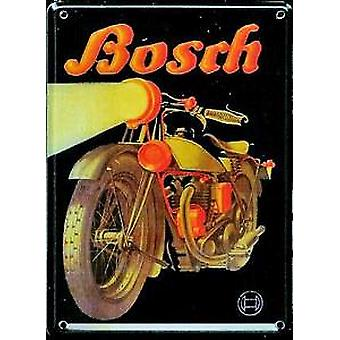Bosch Motorbike advert metal postcard / mini sign