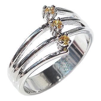 Ah! Smycken Topaz Cubic zirkonium Ring, Rhodium Elektropläteras