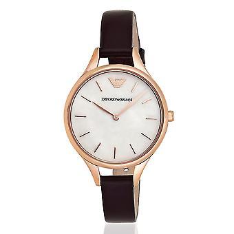 Emporio Armani Ar11057 in pelle di Borgogna orologio da donna in acciaio