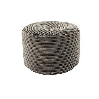 Charcoal Round Bean Bag Footstool Pouffe Seat in Soft Jumbo Cord Fabric