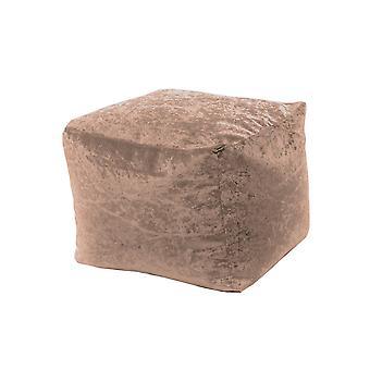 Trøffel firkant bønne bag fotskammel puff sete i skinnende knust fløyel stoff