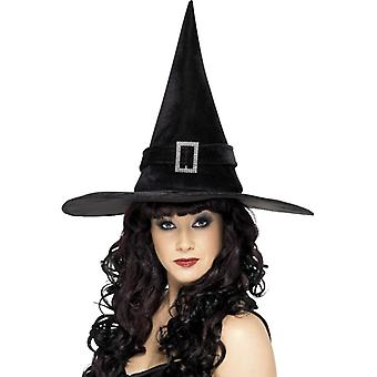 Witch hat med rhinestone spenne, svart