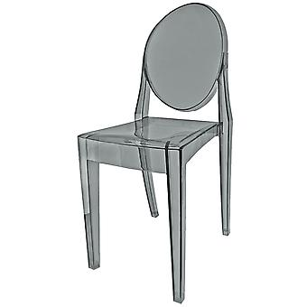 Fusion Living Smoke Grey Ghost Style Plastic Victoria Dining Chair