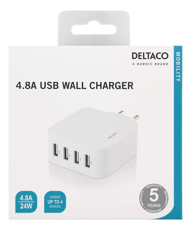 DELTACO USB Väggladdare, 4 portar, USB Typ-A, 4.8A, vit