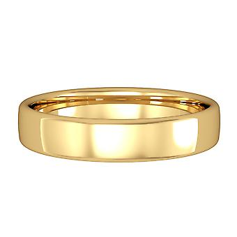 Jewelco London 18ct Yellow Gold - 4mm Essential Bombe Court-Shaped Band Commitment / Wedding Ring