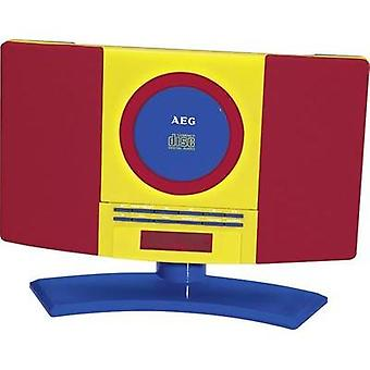Kids CD player AEG MC 4464 Kids Line AUX, CD, FM Wall mount brackets Red, Multi-coloured