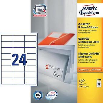 Avery-Zweckform 3658 Labels (A4) 64.6 x 33.8 mm Paper White 2400 pc(s) Permanent All-purpose labels Inkjet, Laser, Copie
