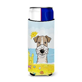 Wire Haired Fox Terrier Summer Beach Michelob Ultra Koozies for slim cans BB2115MUK