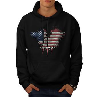 Flag Country American USA Men Black Hoodie | Wellcoda