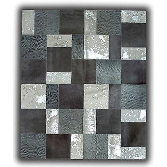 Rugs -Patchwork Leather Cubed Cowhide - Greys & White Acid Silver