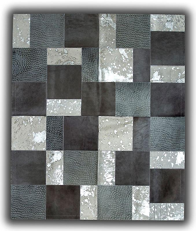 Rugs - Patchwork Leather Cubed Cowhide - Greys & White Acid Silver