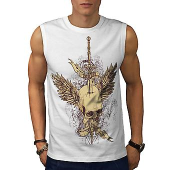Glory Or Death Skull Heaven Hell Men White Sleeveless T-shirt | Wellcoda