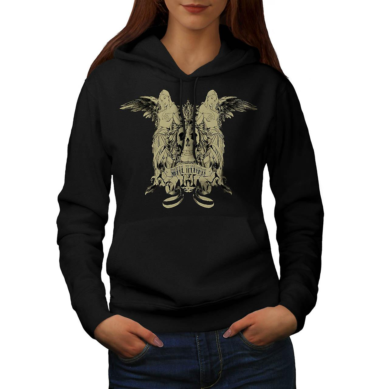 Sinful Thoughts City Skull Angel Women Black Hoodie | Wellcoda