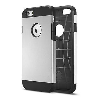 Dekking van 1 2:00 pm Ultra-durable TPU en hard plastic voor iPhone 6 Plus 5,5 (zilver)